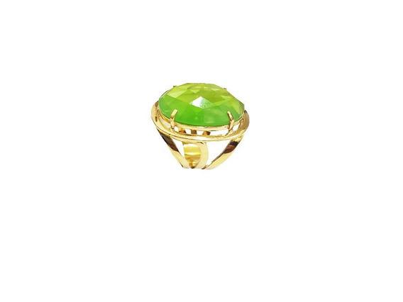 Anel Vazado Cristal Verde Banho Á Ouro.