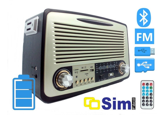 Radio Retro Portatil Bluetooth Usb Controle Recarregavel 251