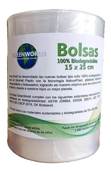 Bolsa De Rollo 15 X 25 Cm - 100% Biodegradable Greenworld