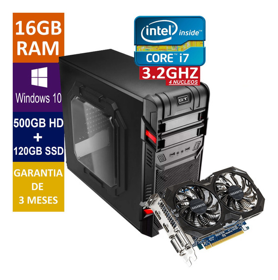 Pc Gamer Core I7 + 500gb + Ssd 120gb 16gb Ram + Gtx750ti 2gb