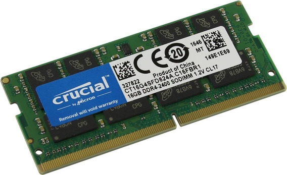 Sodimm Crucial 16gb Ddr4 2400mhz 1.2v Lenovo Dell Hp Asus Compumanias Exclusivo