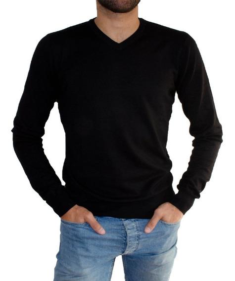 Sweater Hombre Escote V Liso Pullover Tejido Viscosa Suave