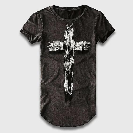 Camiseta Longline Cruz Masculina Manga Curta Importada