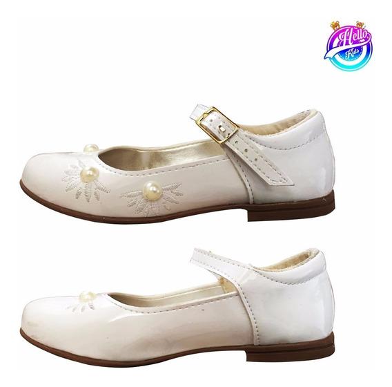 Sapato Infantil Branco/dourado Detalhes Perola (tamanho 27)