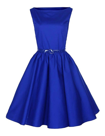 Vestido Pinup Falda Plato Modelo Olivenza Azul 13lagrimas