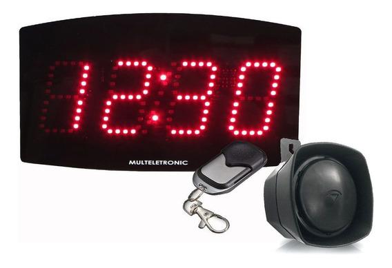 Kit Painel Relógio Led + Sirene Industrial Escola Empresa