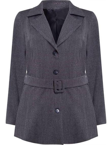 Casaco Feminino Trench Coat Com Cinto E Fivela Seiki 610054