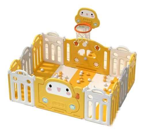 Corral Para Bebé Con 10+2 Paneles Con Aro De Basket Y Tapete