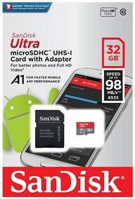 Cartão Micro Sd Sandisk Ultra 32gb 98mb/s Lacrado +adaptador