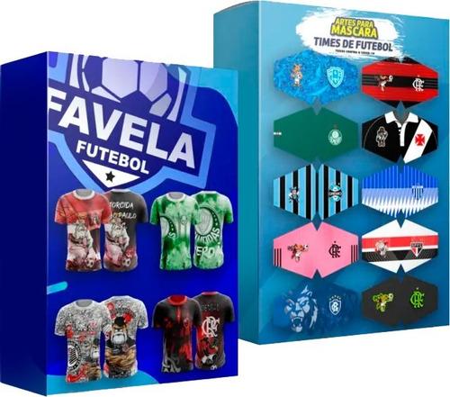 Pack 24 Vetores Estampa Total Futebol Favela + Máscaras