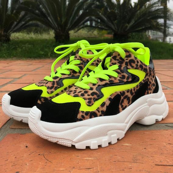 Tênis Feminino Sneaker Animal Print Neon Zatz Frete Grátis