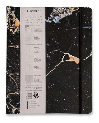 Caderno Fichário Arg. 12 Mat.-mármore Preto -cicero