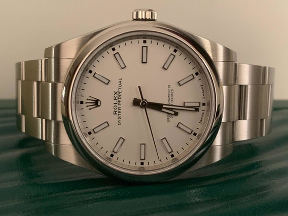 Relógio Rolex Oyster Perpetual 39mm Aço Ano 2018 Completo.