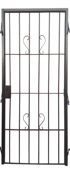 Puerta Reja 80x200 De Seguridad, Hierro 12mm Para Amurar