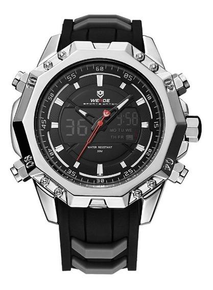 Relógio Masculino Weide Anadigi Wh6406 Prata E Preto