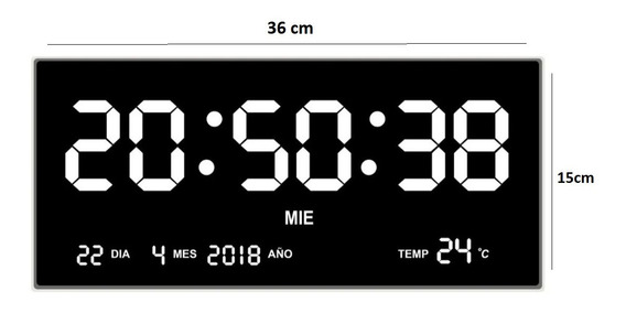 Reloj Led Digital Pared Y Fijo Blanco 36cm Alarma,termómetro
