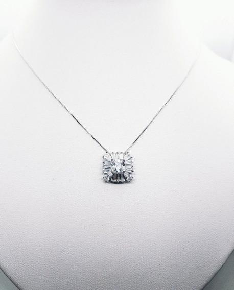 Conj Feminino No Ródio Branco 2 (colar + Brinco) Semijoias