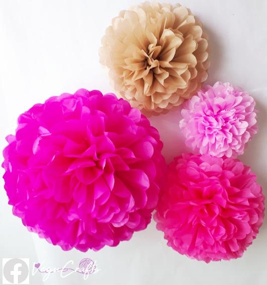 57 Flores De Papel, Flor Pompon Diferentes Tamaños Y Colores