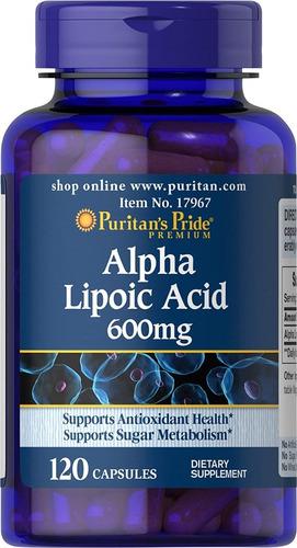 Acido Alfa Lipoic 600mg 120 Capsulas - Importado De Usa