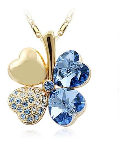 Collar Mujer Trébol Cristal Swarovski Azul,bañado Oro 18k Lb