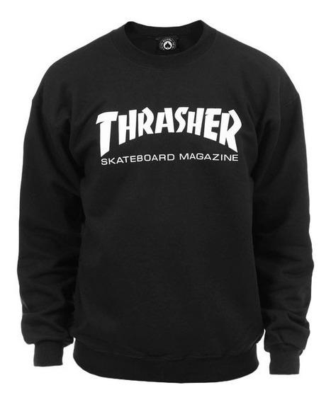 Moletom Thrasher - Careca Skate Mag Crewneck Preto
