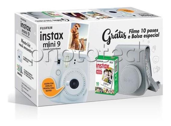 Câmera Instax Mini 9 Branco Kit Com Filme E Estojo Fujifilm