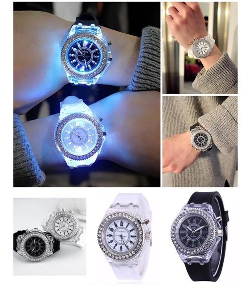 Relógio Analógico Luminoso Colorful Com Strass