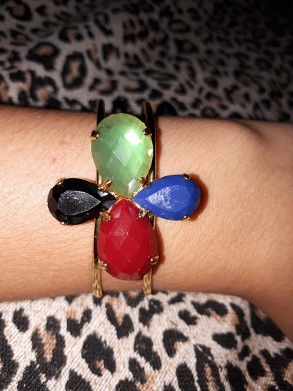 Bracelete / Pulseira Folheada Com Pedrinhas Coloridas