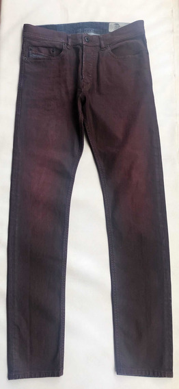 Pantalon Jean Bordo Engomado Diesel Italia Hombre Talle 30