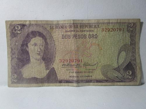 Imagen 1 de 4 de Billete Antiguo 2 Dos Pesos Oro Colombia 1 Enero De 1973