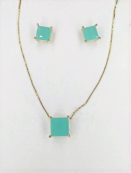 Conjunto Folheado Ouro Cristal Zircônia Verde Luxo 33330680