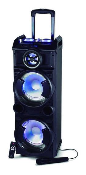 Caixa Som Torre Dupla Bluetooth Roda Alça Microfone Bateria