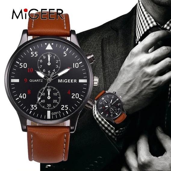 Relógio Masculino Migeer Marrom Couro,casual Caixa Brinde