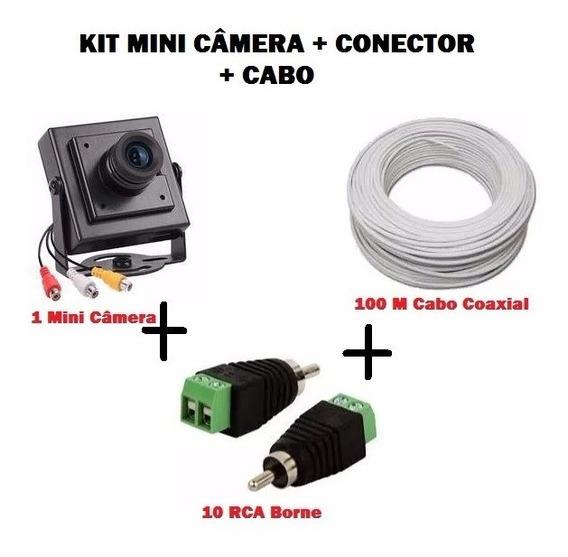 Kit Mini Câmera De Segurança + Conectore Rca + Cabo Coaxial
