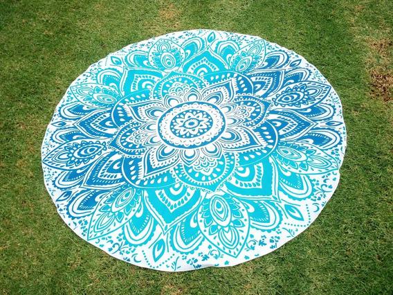 Mandala Redonda Decoración Hogar Playa- Flores Azules