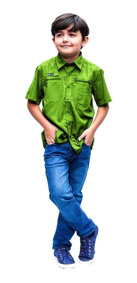 Camisas Ke Manga Corta Verde Niños #jc02-2814
