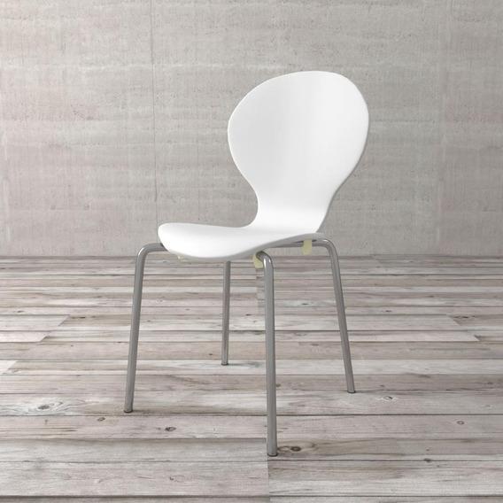 Cadeira Shell De Madeira E Aço Cromado Branca