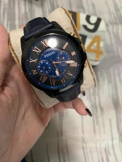 Reloj Fossil Para Hombre, Color Negro Con Extensible Azul
