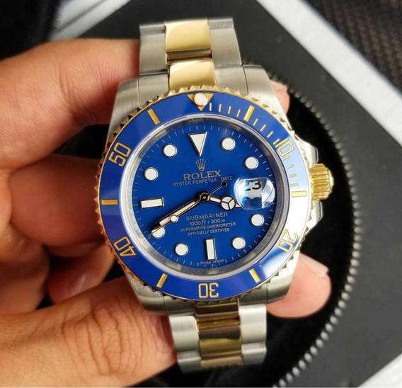 Rolex Dourado Azul Misto 40mm Submariner Automático Safira