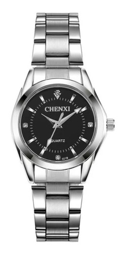 Relógio Feminino Prata Aço Inox Pequeno Fundo Preto Escuro