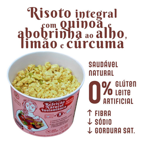 Imagem 1 de 7 de Risoto Integral Com Quinoa E Abobrinha Sem Glúten Sem Leite