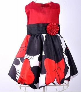 Vestido Infantil Da Minnie Vermelho E Preto