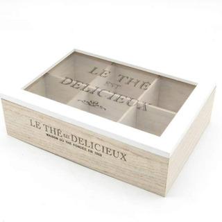Caja Té Vintage Madera Blanca 6 Compartimientos. Agronewen