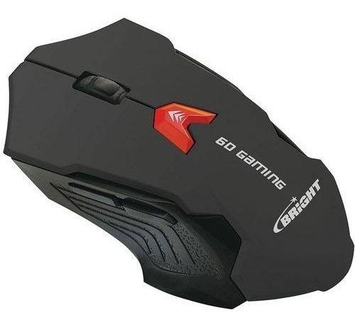 Mouse Gamer Bright 2400 Dpi Usb 6 Botões Preto Novo Lacrado