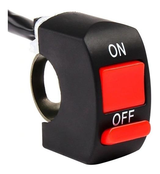 Botão Interruptor Farol Milha Moto On Off Prova Dágua 22mm
