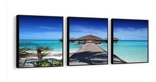 Quadro Mosaico Deck 3 Peças Paisagem Grande Praia Maldivas