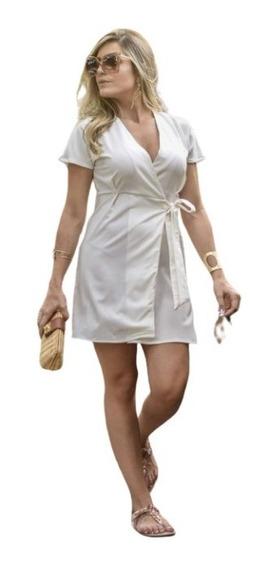 Vestido Curto Transpassado Manga Curta Branco Moda Feminina