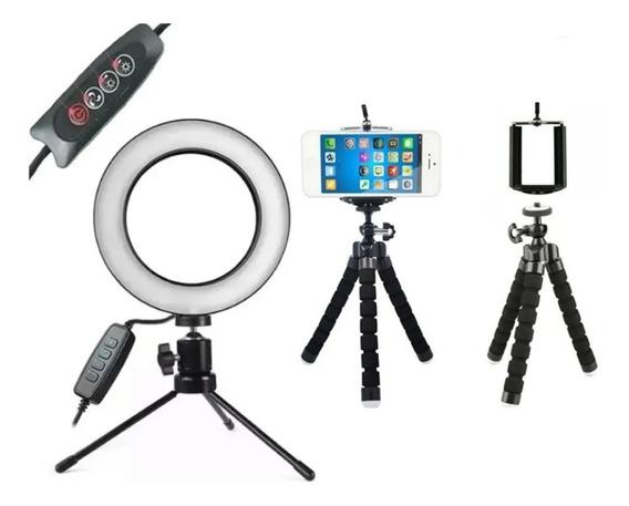 Kit Iluminação Led Ring Light Tripé Mesa Iluminador Para Vídeos Youtube Circular Ring Light - 3500k A 5500