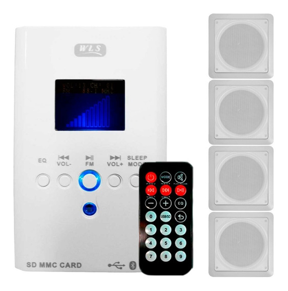 Kit Som Ambiente Wall Player Wls Bluetooth + 4 Caixa Teto