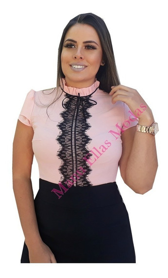 Blusa Feminina Gola Alta Cordão Renda Guipir Manga Curta
